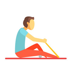 Man sitting on a mat and exercising with rubber vector