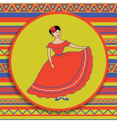 Mexican woman on patterned background vector