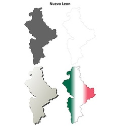Nuevo Leon blank outline map set vector image