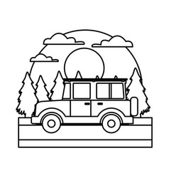 off road sport truck in the forest vector image