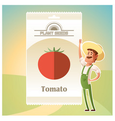 Pack of tomato seeds vector