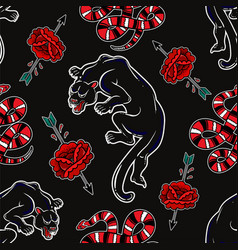 seamless pattern with wild snake black panther vector image
