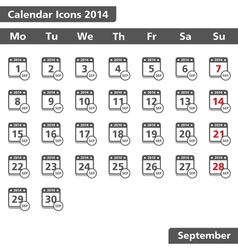 September 2014 Calendar Icons vector image