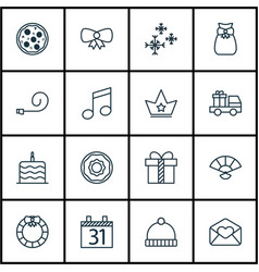 Set of 16 christmas icons includes lorry birthday vector