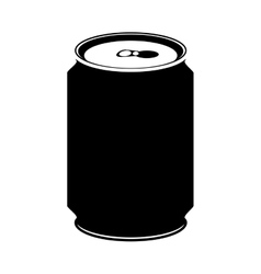 Silhouette monochrome with canned drink vector