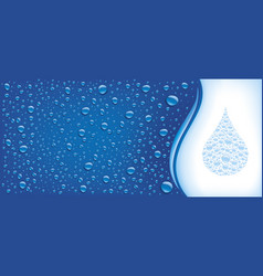 water drops on blue background with place for text vector image