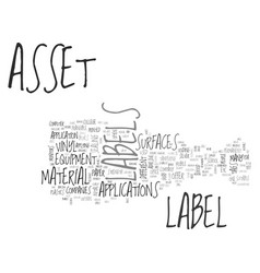 What type of asset labels do i need to buy for my vector