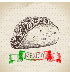 Mexican traditional food background with tacos vector