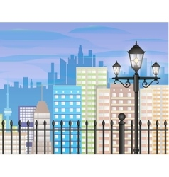 Cityscape with office and residental buildings vector