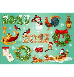 Christmas and new year celebration poster vector