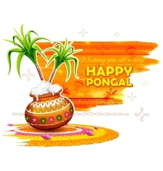Happy Pongal greeting background vector image