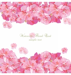 Pink flowers card isolated on white vector