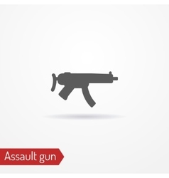 Compact assault weapon silhouette icon vector