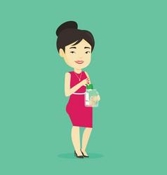 Woman putting dollar money into glass jar vector