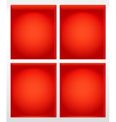 Illuminated empty red book shelves vector