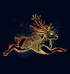 flying winged jacalope magical creature vector image