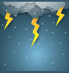 Rain with thunderbolt paper art style vector