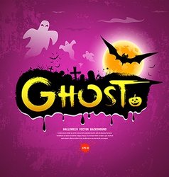 Halloween ghost message on purple background vector