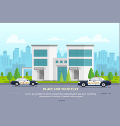 City police station on urban background - modern vector