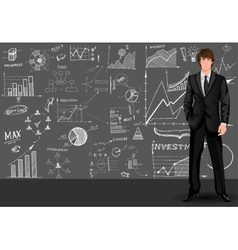 Business man sketch background vector