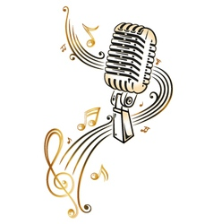 Microphone music vector image