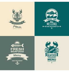Seafood icon set vector