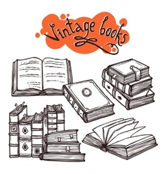 Books set black and white vector