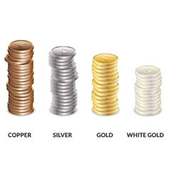 Set of columns of coins of different metals bars vector