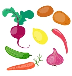 Set of vegetables on white background vector