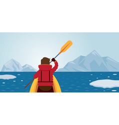 Man kayaking arctic background vector