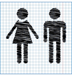 Male and female sign with pen effect on paper vector