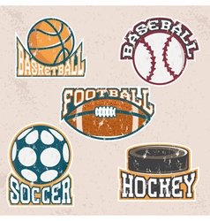 Set of grunge vintage sport labels and elements vector