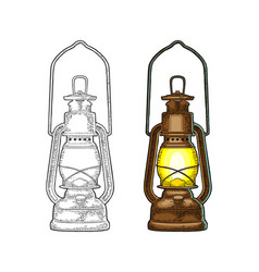 antique retro gas lamp vintage color engraving vector image