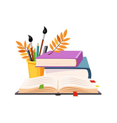 Books pile and writing tools set of school and vector