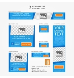 Business standard size web banners set vector