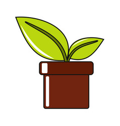 Cartoon flower in pot icon on white background vector
