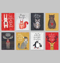 Christmas animals card set christmas animals card vector