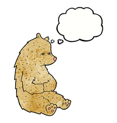 Cute cartoon bear with thought bubble vector