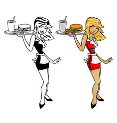 Cute waitress woman holding food tray with burger vector