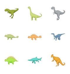 First dinosaur icons set cartoon style vector