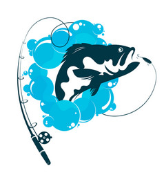 fish and fishing rod vector image
