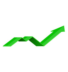 green indication arrow up rising icon vector image vector image