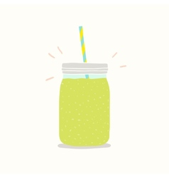 Green smoothie in a jar vector image