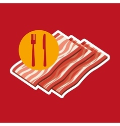 Grill fast food concept grilled bacon vector