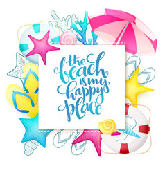 Hand lettering summer phrase on paper sheet vector