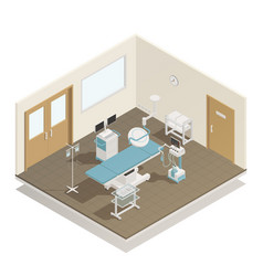 Operation room equipment isometric composition vector