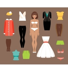 Paper doll and a set of clothes vector image vector image