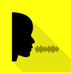 People speaking or singing sign black icon with vector