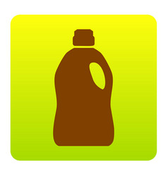 Plastic bottle for cleaning brown icon at vector