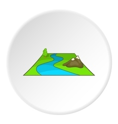 River avd mountains icon cartoon style vector